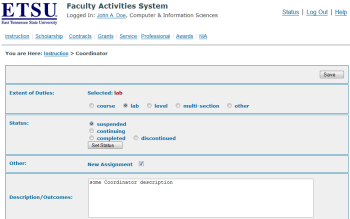 ETSU Faculty Activities System